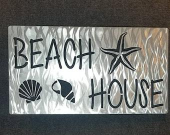 Beach House Sign, Beach Decor, Beach Sign, Beach House Decor, Metal Art, Starfish Sign, Seashell Sign, Tropical Decor, Vacation Home Decor