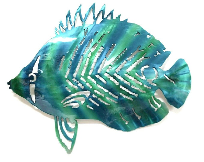 Metal Fish Art Aluminum Angelfish Tropical Fish Decor, Metal Nautical Decor, Ocean Art, Ocean Decor, Beach Decor, Patio Decor, Metal Fish