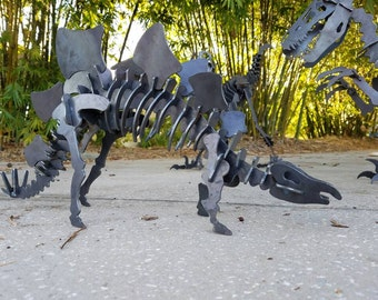 Metal Stegosaurus Outdoor Yard Art, Dinosaur Art, Children's Dinosaur Decor, Dinosaur for Boys Room, Outdoor Metal Puzzle Art Sculpture