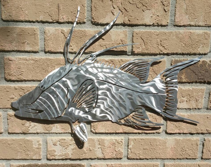 Hogfish in aluminum, Plasma Cut, Hand Shaped