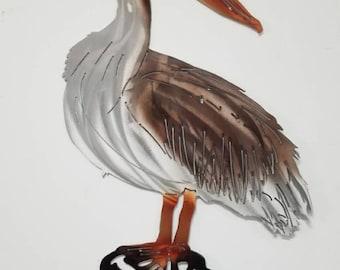 Pelican Wall Art, Metal Pelican, Sea Bird Home Decor, Coastal Living, Avian Enthusiast, Bird Lover, Ocean Art, Beach House, Christmas Gift