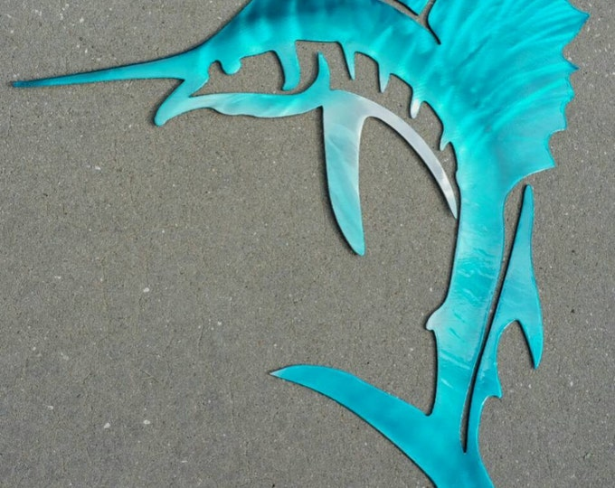 Sailfish metal art in aluminum
