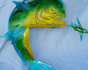 Metal Fish Wall Art, Metal Mahi Mahi, Mahi with Bait, Dorado Fishing, Fisherman Gift, Gift for Husband, Gift for Dad, Mahi Mahi Wall Art