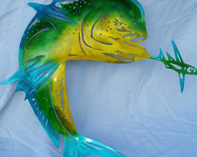 Metal Fish Wall Art, Metal Mahi Mahi, Mahi with Bait, Dorado Fishing, Fisherman Gift, Gift for Husband, Gift for Dad, Mahi Mahi Wall Art