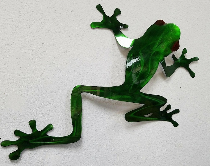 Tree Frog Wall Art, Tree Frog Metal Art, Stainless Steel Wall Decor, Red Eyed Tree Frog, Outdoor Wall Decor, Jungle Decor, Rainforest Art