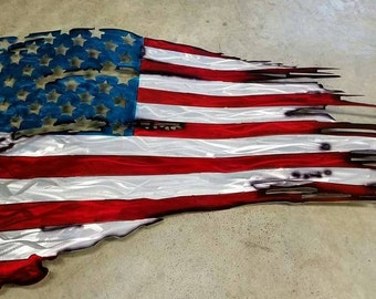 Metal American Flag Tattered War Torn and Distressed
