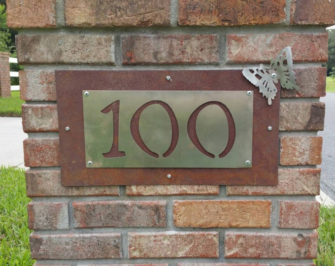 Customized Metal Number Sign, Rustic Custom Sign, Custom Home Sign, Outdoor Number Sign, Custom Outdoor Sign, Custom Mailbox