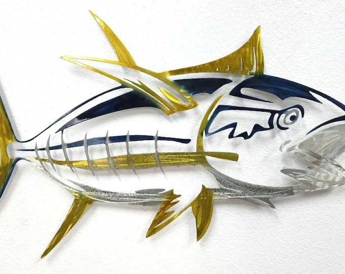 Tuna Skeleton Wall Art, Yellowfin Tuna Metal Art, Aluminum Tuna Decor, Skeleton Tuna for Man Cave, Metal Fish Indoor and Outdoor Sculpture