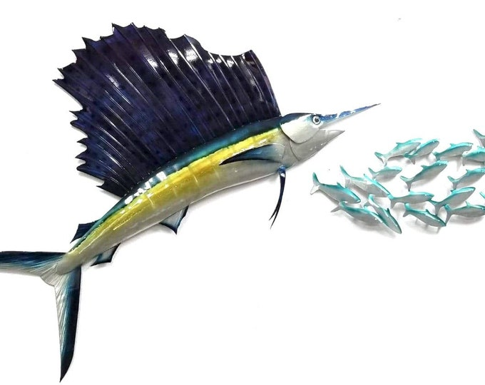 Sailfish Aluminum Wall Art, Nautical Ocean Decor Good for Outdoor Use, Non Rust Metal, Gift or Decor for Avid Fishermen, Man Cave Decor
