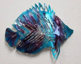 Metal Fish Art, Aluminum Angelfish, Tropical Fish Decor, Metal Nautical Decor, Ocean Art, Ocean Decor, Beach Decor, Patio Decor, Metal Fish