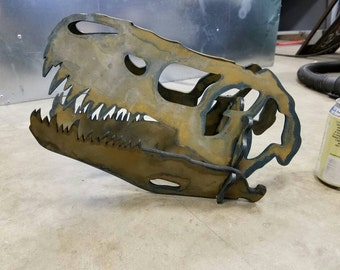 FREE Shipping!!! LARGE Dinosaur T-Rex 3d skull in steel, Pen holder, Business Card Holder, Jurassic Park