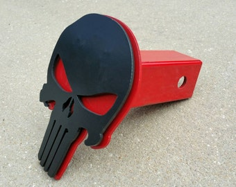 Punisher Trailer Hitch Cover, Black and Red Punisher, Punisher Tow Hitch Plug, Punisher Skull, Steel Hitch Cover, Steel Punisher