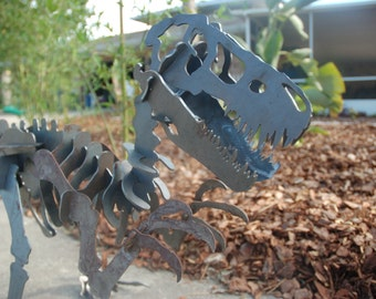 "70"" x 110"" Velociraptor/Tyrannasaurus Steel 3D Puzzle Sculpture Yard Art Not Pre Fabricated"