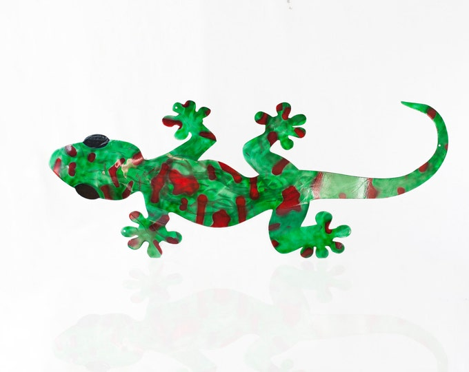 Giant Day Gecko Metal Wall Art, Garden Lizard, Lizard Art, Reptile Art, Herp Enthusiast, Aluminum Metal Art, Patio Decor, Metal Home Decor