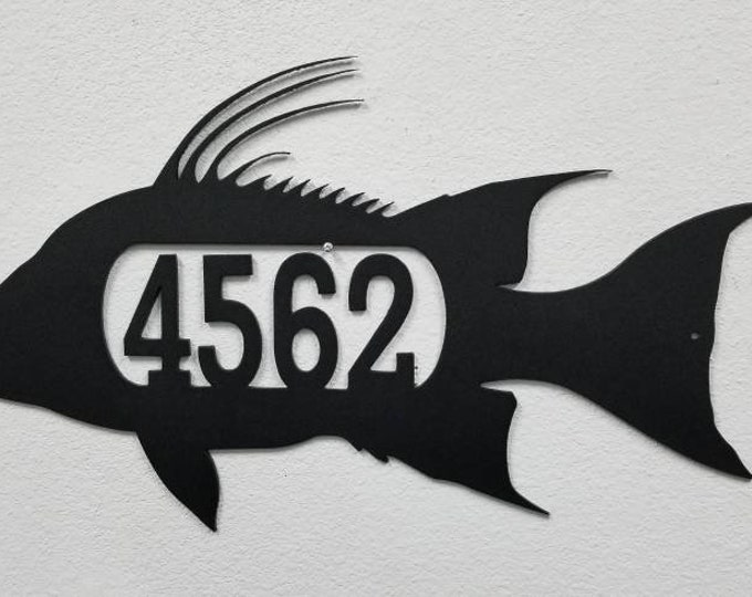 Hogfish address Sign, Aluminum Custom Sign, Custom Home Sign, Outdoor Number Sign, Custom Outdoor Sign, Custom Mailbox, Hogfish, Hogsnapper