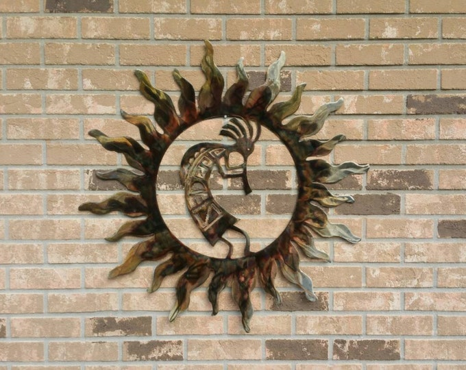 Kokopelli Fertility Wall Hanging, Outdoor Metal Art, Southwestern Decor, Native American Metal Art, Fertility Wall Decor, Desert Metal Art