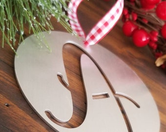 Rustic Aluminum Monogram Christmas Ornament, Metal Initial Ornament, Rustic Christmas Decor, Personalized Letter Ornament, Stocking Ornament