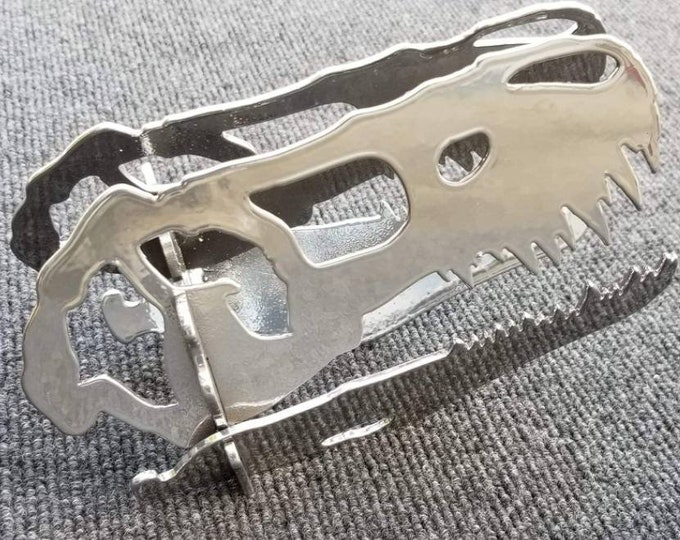 Chrome Dinosaur T-Rex 3d Skull in Steel for Desk, Gift for Friend, Husband, Dad