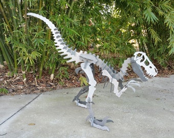3D Steel Metal Velociraptor Dinosaur Outdoor Yard Art, Dinosaur Decor, Kids Dino Decor, Outdoor Puzzle Metal Art Sculpture