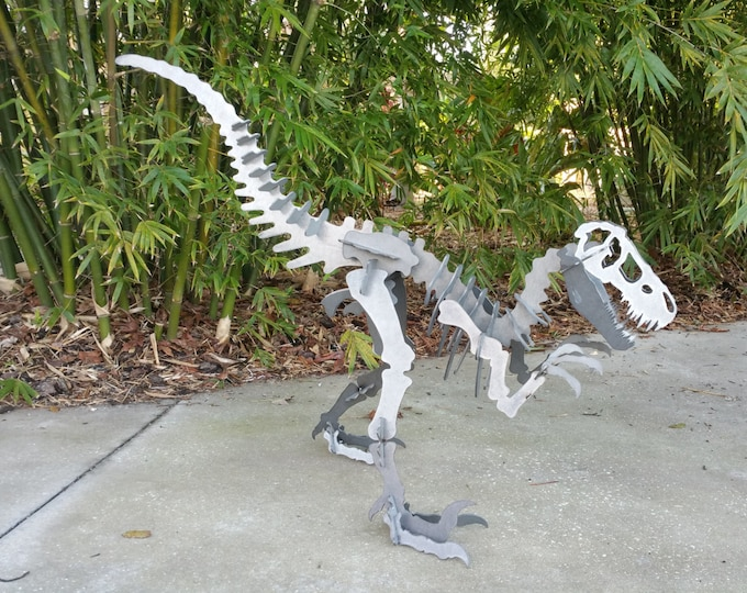 Metal Velociraptor Outdoor Yard Art, Dinosaur Decor, Dinosaur for Boys Room, Kids Dino Decor, Outdoor Puzzle Metal Art Sculpture