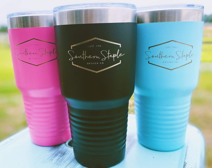 Your Logo Here Set of 10 Laser Etched Metal Tumbler/Metal Travel Cup/Stainless Steel Coffee Mug/Travel To-Go Tumbler/Insulated Tumbler