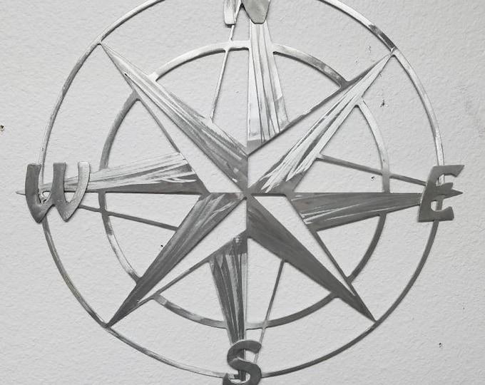 "14"" x 14"" Metal Compass Rose Nautical Metal Wall Art - Aluminum Compass Rose - Will Not Rust Like Steel - Metal Nautical Decor - Map Compass"