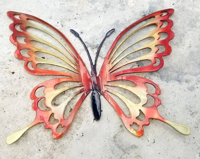 "15"" Orange and Yellow Metal Butterfly Wall Art, Butterfly Decor for Garden, Non Rust Aluminum Butterfly Decor, Butterflies for Girls Room"