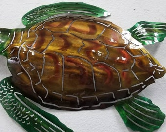 "22"" Sea Turtle Wall Art, Sea Turtle Metal Art, Hand Hammered, Hand Airbrushed, Beach Decor, Beach House Decor, Patio Decor, Non Production"