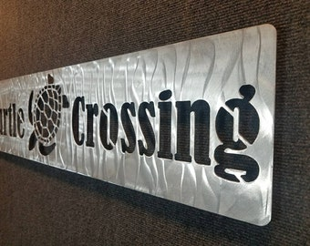 Turtle Crossing Sign - Metal Turtle Xing - Metal Wall Art - No Rust Metal Wall Decor - Turtle Lover - Beach House Decor - Patio Decor