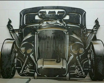 Hot rod metal garage art