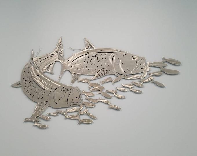 Aluminum Tarpon Metal Fish Wall Art, Tropical Decor, Gift for Fisherman or Dad