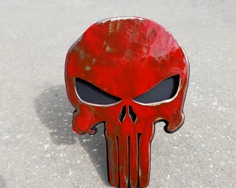 Punisher Trailer Hitch Cover battle worn, Truck Accessories, Car Accessories, Steel Punisher Skull