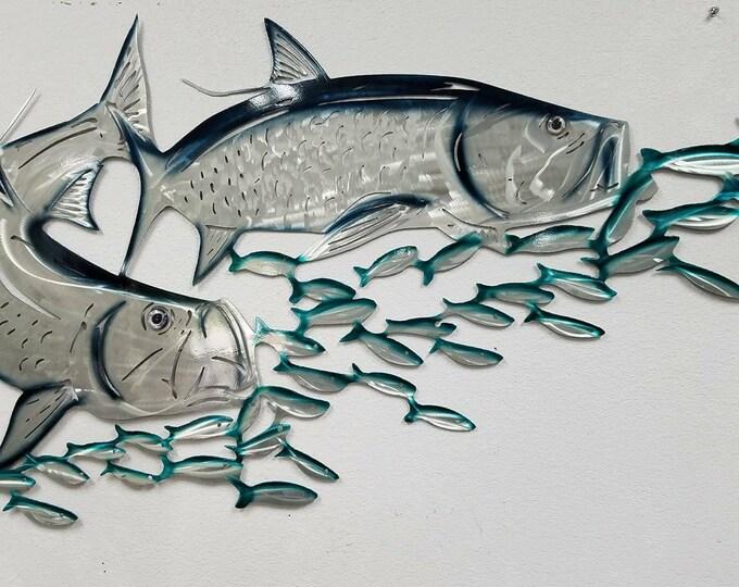 Tarpon Metal Wall Art, Aluminum Metal Fish Art, Metal Ocean Art, Fishing Gift, Tropical Decor, Tropical Fish Art, Gift for Dad or Husband