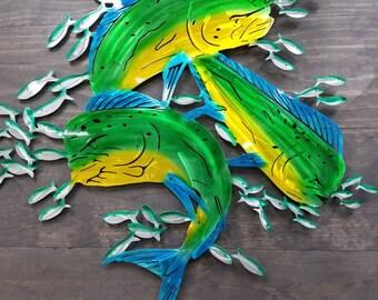 Mahi Wall Art, Metal Mahi, Beach Decor, Metal Art, Beach House Decor, Cottage Style, Farmhouse Style,  Coastal Decor, Deep Sea Fishing