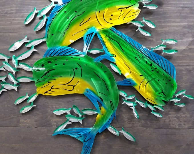 Mahi Wall Art, Metal Mahi, Beach Decor, Metal Art, Beach House Decor, Cottage Style, Farmhouse Style,  Coastal Decor, Deep Sea Fishing