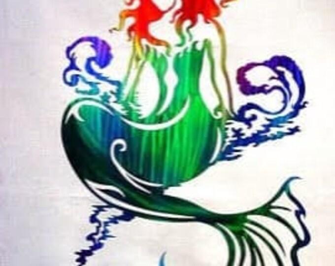 Mermaid Riding the Waves Aluminum Metal Wall Art, Mermaid Decor for Girls Room, Nautical Ocean Decor Good for Outdoor Use, Non Rust Metal