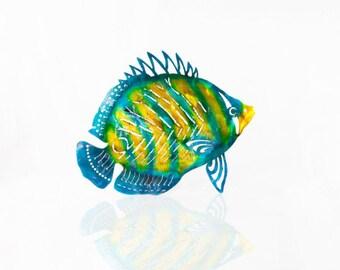 Metal Fish Art Aluminum Angelfish Tropical Fish Decor, Metal Nautical Decor, Ocean Art, Ocean Decor, Beach Decor, Patio Decor, Metal Fish