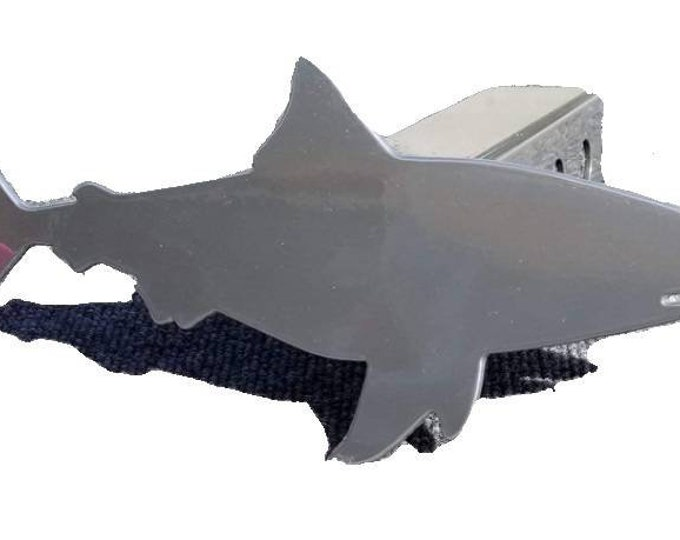 Chrome Daddy Shark Trailer Hitch Cover, Bull Shark Hitch Plug for Husband or Dad in Chrome Powder Coat