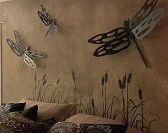 Rustic Metal Dragonfly Wall Art Nature Art Gift for Nature Lover Housewarming Gift Garden Decor Decorative Aluminum Dragonflies Outdoor Art