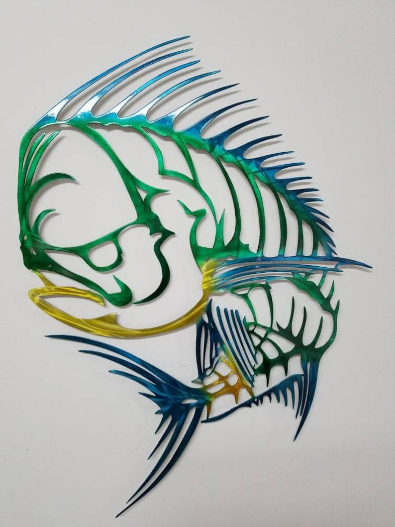 Mahi Mahi Wall Art Metal Mahi Wall Art Aluminum Wall Art Skeleton Mahi Metal Fish Wall Art Outdoor Metal Sculpture Mahi Metal Art