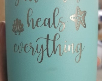 Saltwater Heals Everything Laser Etched Metal Tumbler/Metal Travel Cup/Stainless Steel Coffee Mug/Travel To-Go Tumbler/Insulated Tumbler