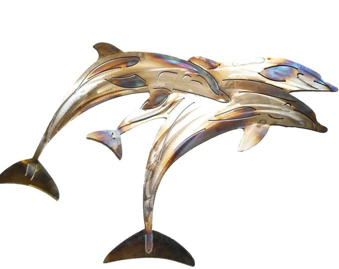 Stainless Steel Dolphin Metal Wall Art, Pod Of Dolphins, Beach House Decor, Ocean Decor, Gift for Beach Lover, Pool Deck Art