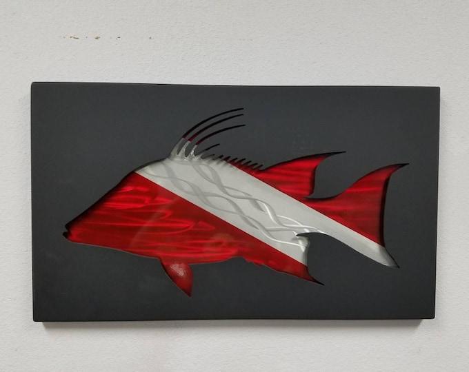 Hogfish Metal Wall Art, Scuba Decor,Hogsnapper Home Decor, Handmade Metal Shadowbox, Coastal Living, Wildlife Art, Conservation Gift