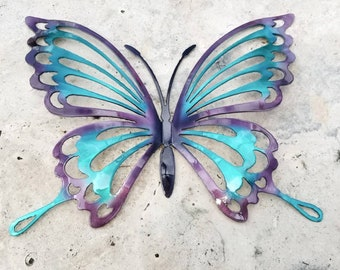 Turquoise and Purple Metal Butterfly Wall Art, Butterfly Decor for Garden, Non Rust Aluminum Butterfly Decor, Butterflies for Girls Room