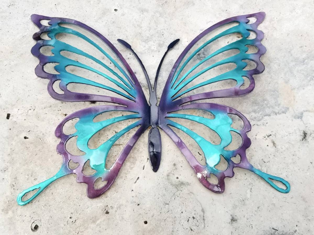 Turquoise And Purple Metal Butterfly Wall Art Butterfly Decor For