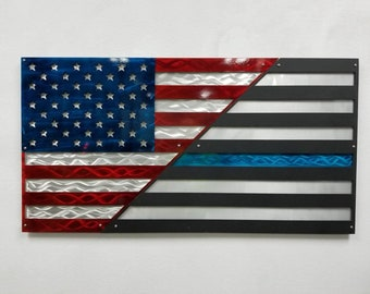 Aluminum American Flag, Thin blue line flag, American Patriot, Patriotic Wall Decor, Police Tribute, Made in America, Handmade