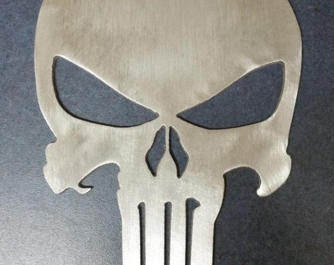 Brushed aluminum punisher skull