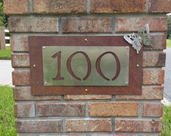 Customized Metal Number Sign, Rustic Custom Sign, Custom Home Sign, Outdoor Number Sign, Custom Outdoor Sign, Custom Mailbox