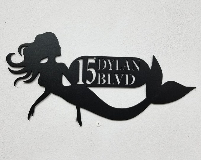 Mermaid address Sign, Aluminum Custom Sign, Custom Home Sign, Outdoor Number Sign, Custom Outdoor Sign, Custom Mailbox, Mermaid hair