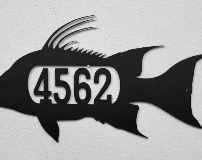Hogfish address Sign, Aluminum Custom Sign, Custom Home Sign, Outdoor Number Sign, Custom Outdoor Sign, Custom Mailbox, Hogfish, Hogsnapper